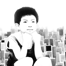 """ The little thinker "", 90x180cm, Ink on canvas, 2008"