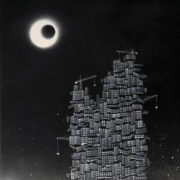 """"""" Lost City No.10 - Tower of Babel """", 100x60cm, Acrylic on canvas, 2010"""