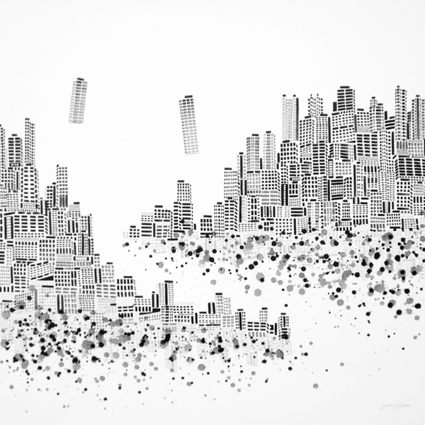 """ Lost City No.2 "", 120x120cm, Ink on canvas, 2009"